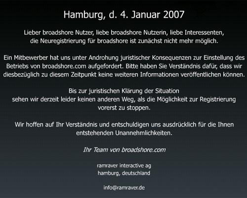 Broadshore ist offline (Textauszug)